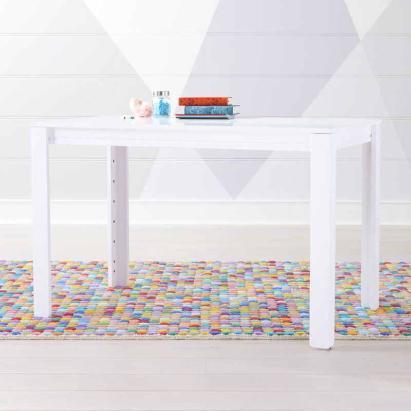 Large White Adjustable Kids Table W 30 Legs Reviews Crate