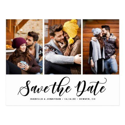 Black Script Three Photo Collage Save the Date Postcard Weddings - postcard collage template