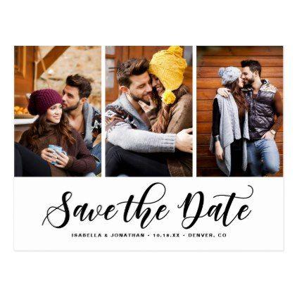 Black Script Three Photo Collage Save the Date Postcard Weddings
