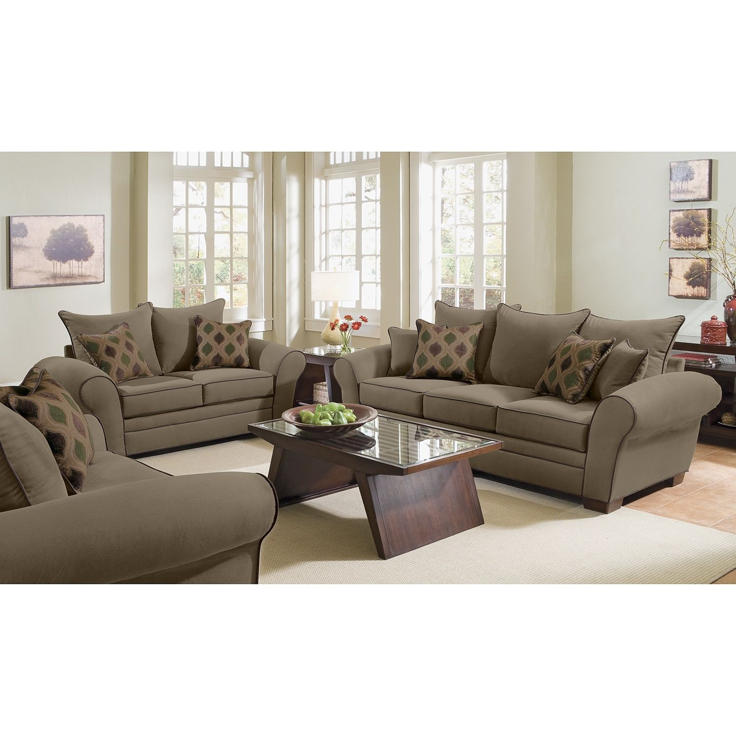 Rendezvous Sofa And Loveseat Set Olive White Furniture Living