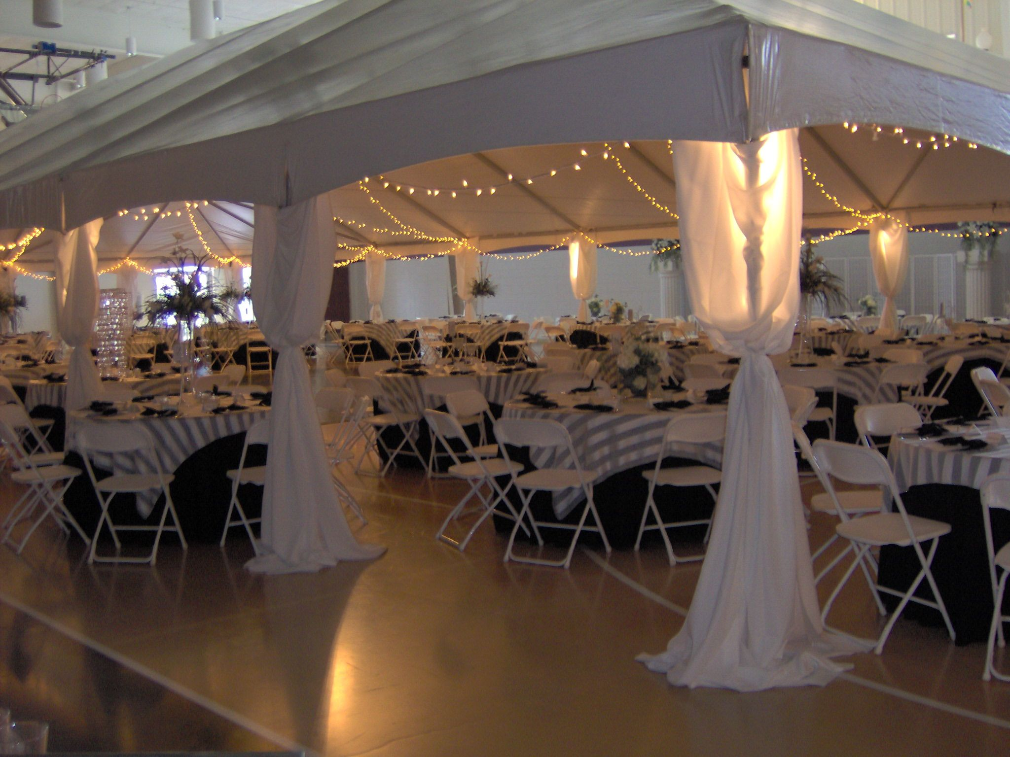 Tents can be set up inside to define a space--such as this