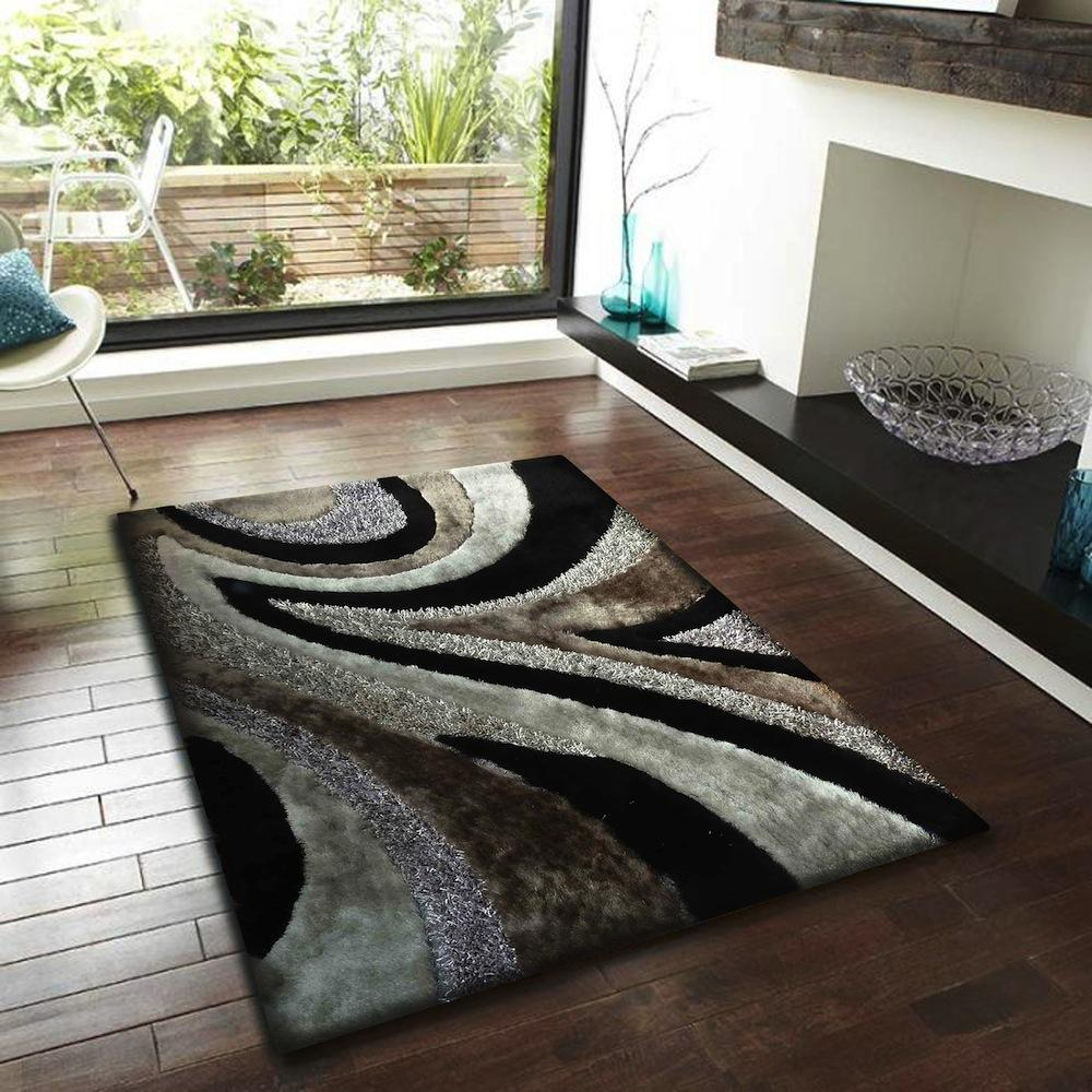 Grey Leather Shag Rug Black And Grey Rugs Area Rugs Black Area Rugs