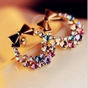 Exquisite flash bright fancy color bow earrings EH0035
