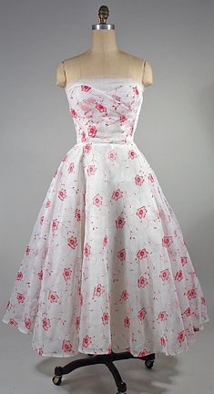 Charming 1950s white and red floral organza dress.