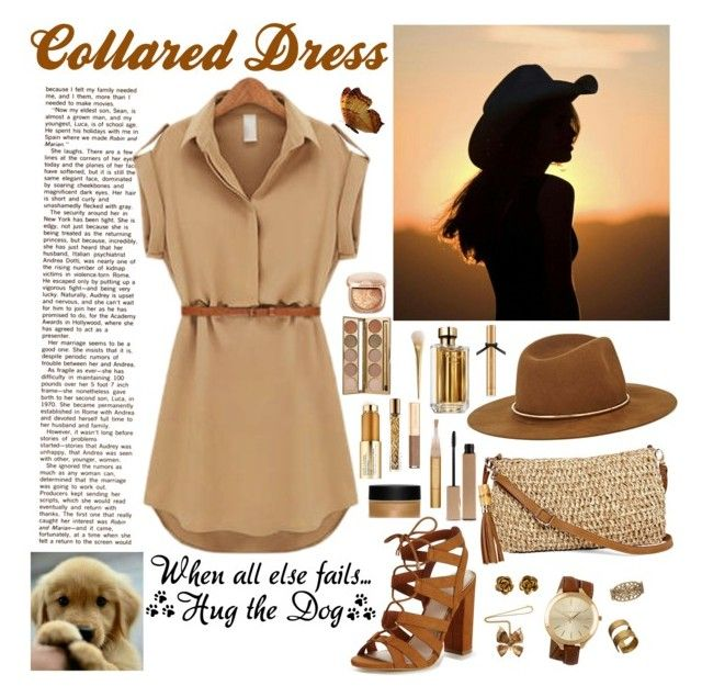 """""""Collared Dress"""" by whims-and-craze ❤ liked on Polyvore featuring Lipsy, Straw Studios, Alexander McQueen, Chanel, Michael Kors, ADIN & ROYALE, Janessa Leone, Clarins, Jane Iredale and Estée Lauder"""