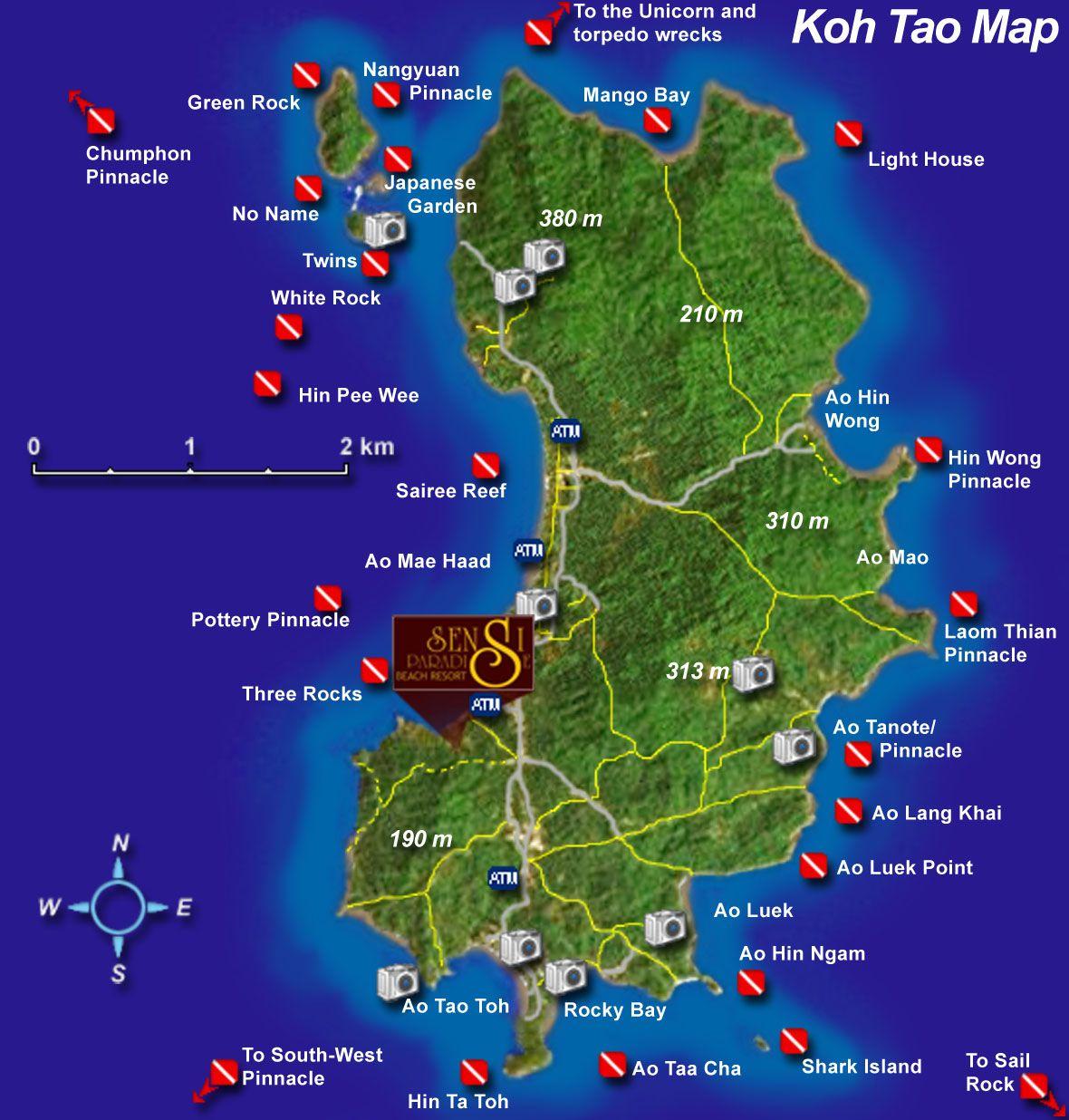 Koh Tao Tourist Map Koh Tao mappery Wander Koh Samui Ko Tao