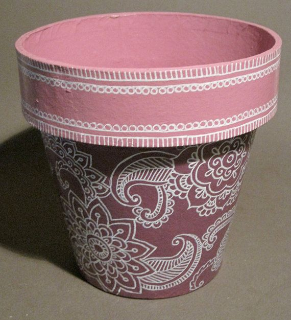 Pink Purple Hand Painted Mendhi Flower Pot By Colorcanthurtyou 12 00 Painted Flower Pots Flower Pots Purple Hands