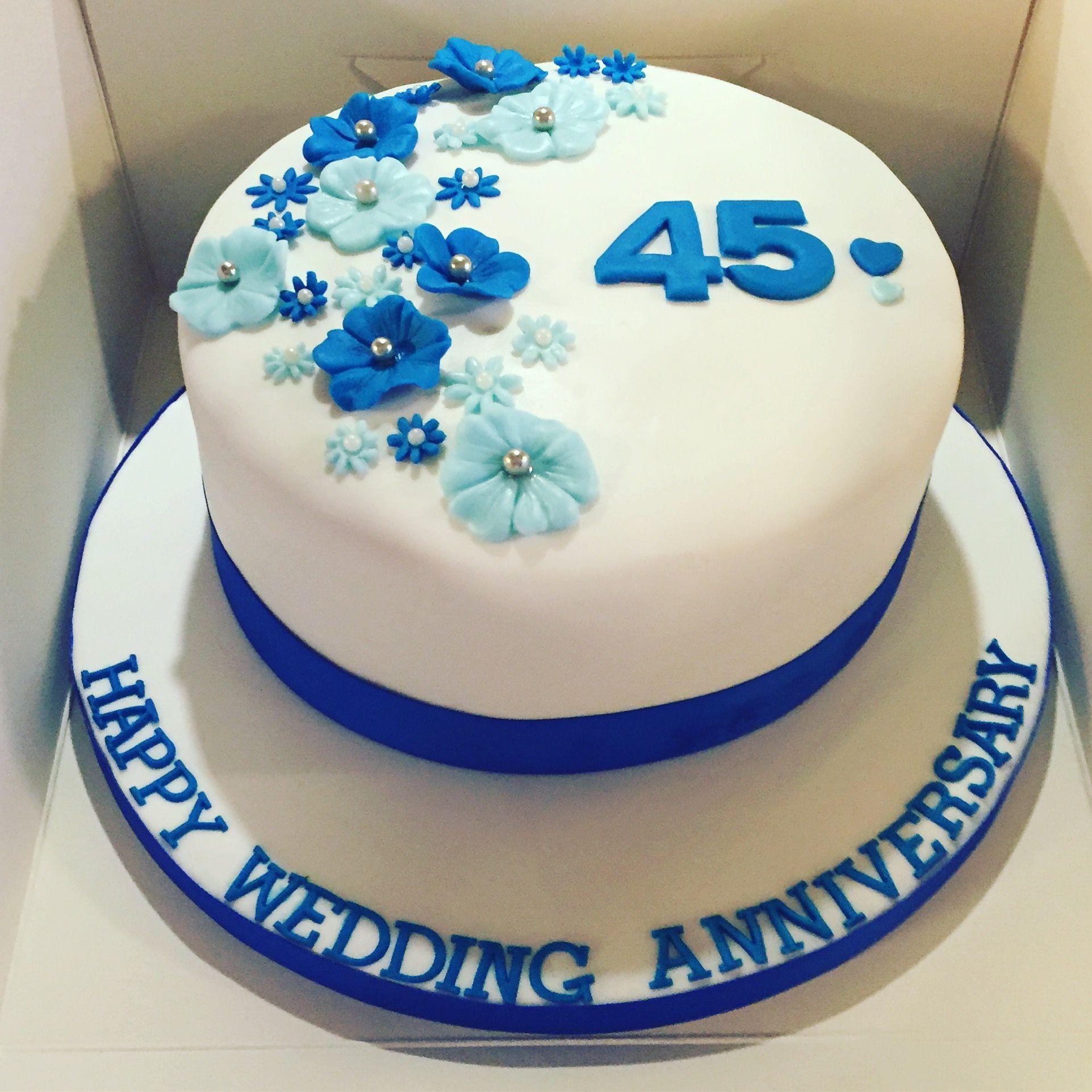 45 Wedding Anniversary Gift Ideas: 45th Wedding Anniversary Cake #blueflowers
