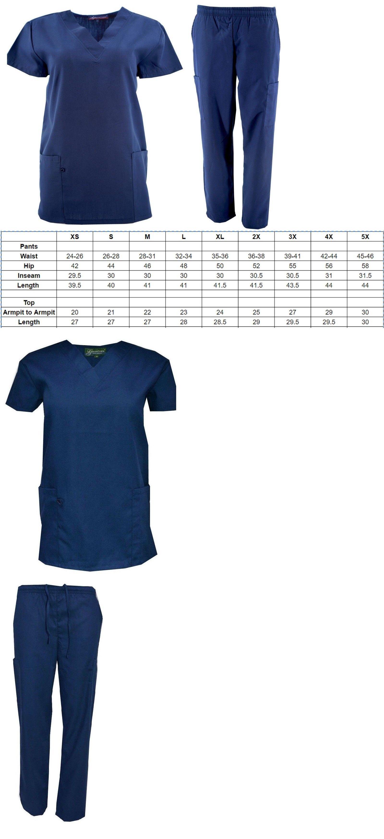 0855d6e18ece9 Sets 105432: Navy Nursing Scrub Set Top And Pant Size Xs S M L Xl 2X 3X 4X  5X -> BUY IT NOW ONLY: $12.99 on #eBay #nursing #scrub