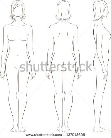 Vector Illustration Of Women S Figure Front Back Side