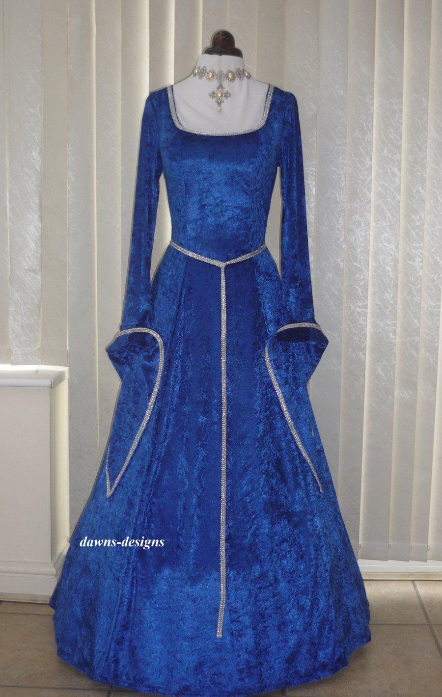 medieval lotr pagan dress costume royal blue velvet and
