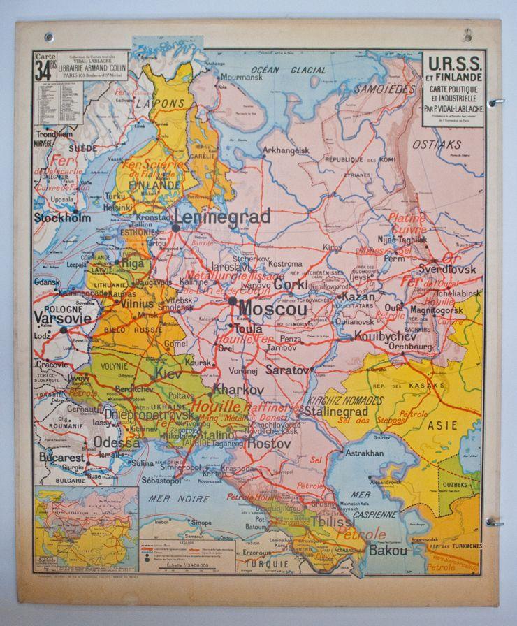 Carte Urss.Carte Vidal Lablache N 34 Bis U R S S Et Finlande Carte