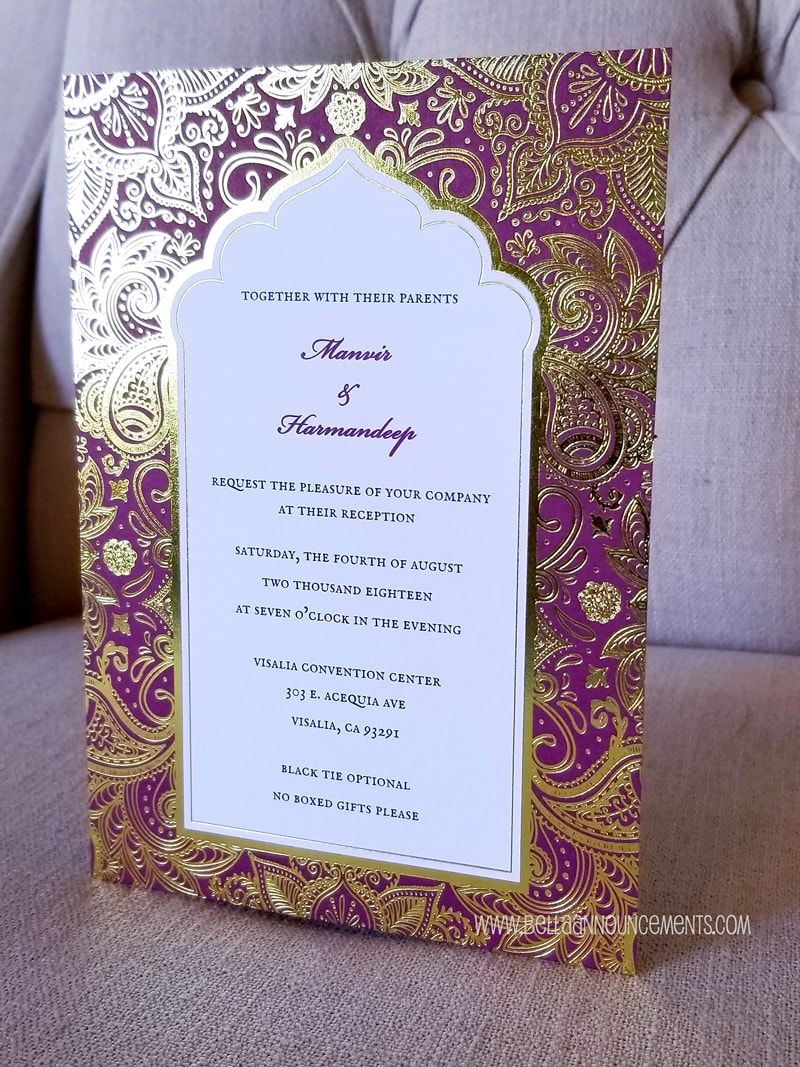 Indian Wedding Invitation, Gold Foil, Paisley, Mandala, Flower, Indian  Fusion, Indian Wedding, Purpl… | Indian wedding invitations, Wedding  invitations, Invitations