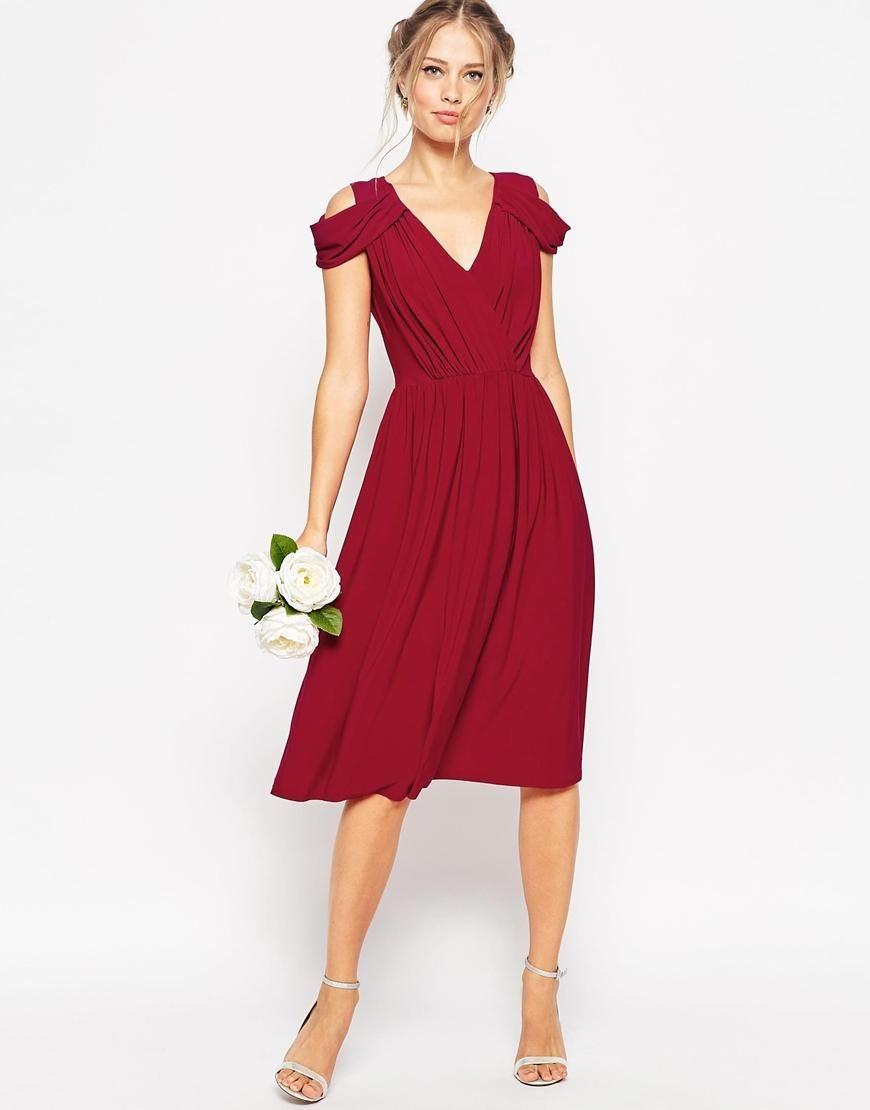 Asos Asos Wedding Drape Cold Shoulder Midi Dress At Asos Dress