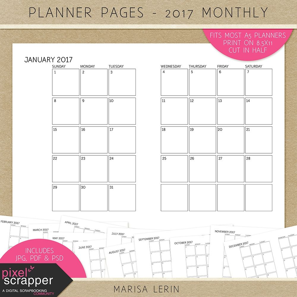 Planner Pages Kit - 2017 Calendar Pages - Free | Printables ...