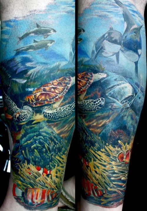 Leg Sleeve Tattoos Ocean Underwater Tattoo Ocean Sleeve Tattoos