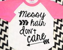 Messy Hair Don't Care Black Glitter Shirt Baby Shower Gift Toddler Girl Top Baby Sparkle Neon Pink Raglan Hipster Baby Clothes Baseball Tee