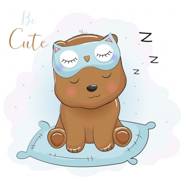Cute Cartoon Bear Sleeping With Eye Mask Premium Vector