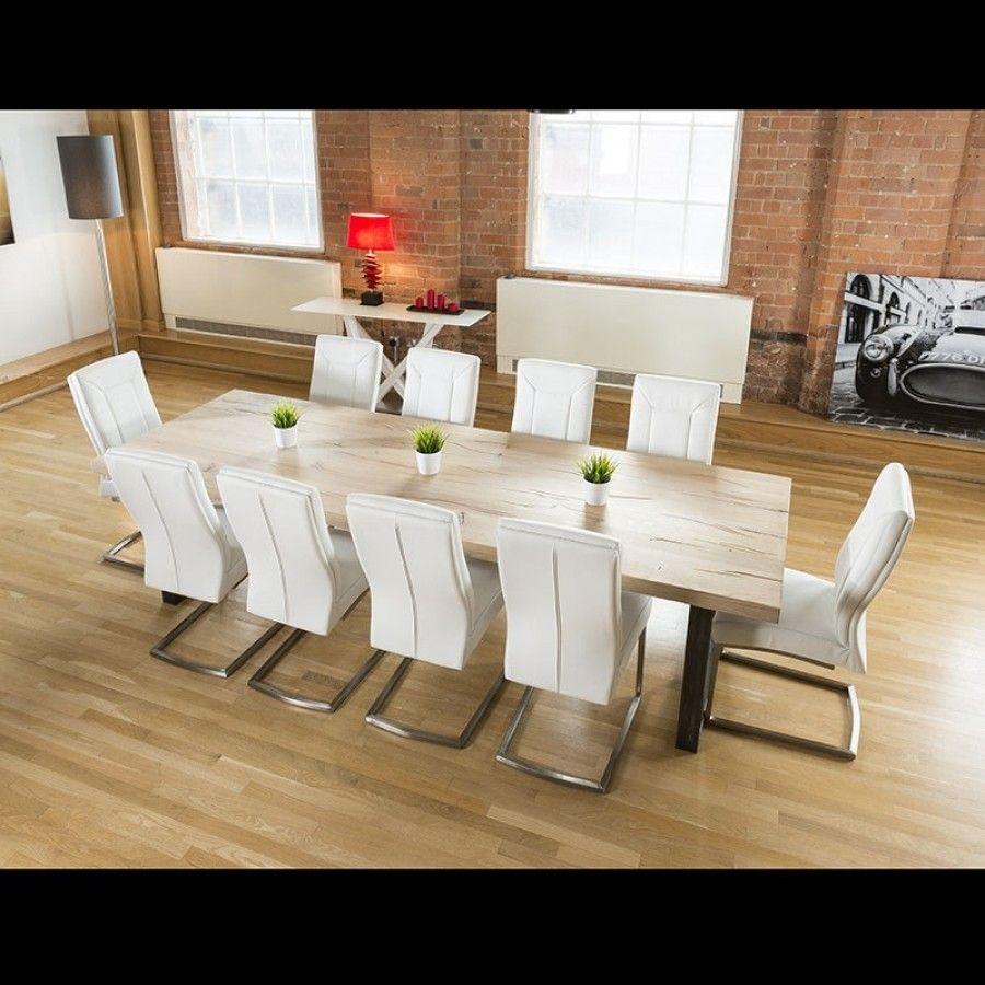 Massive 290x100 Rectangular Driftwood Dining 10 X White Chairs