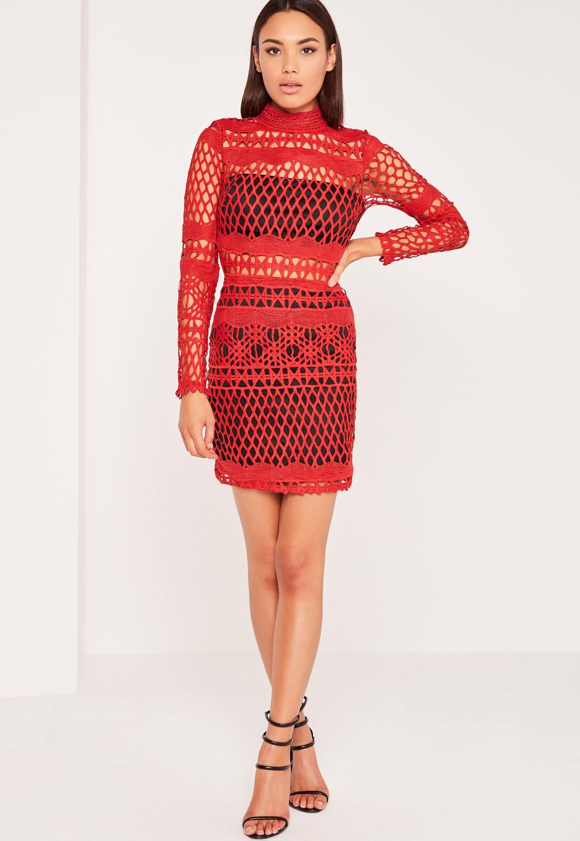 Missguided lace overlay long sleeve bodycon dress redblack