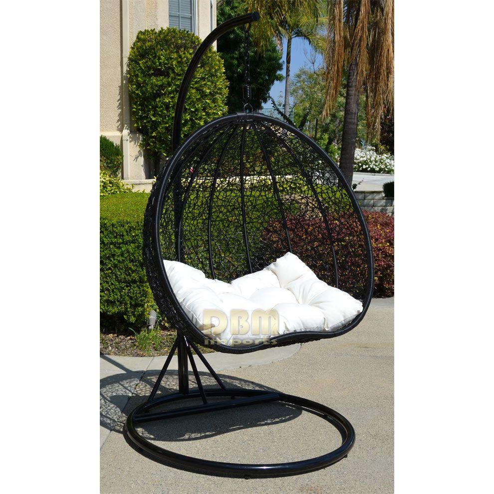 2 Persons Seater Bird Egg Nest Wicker Rattan Swing Lounge
