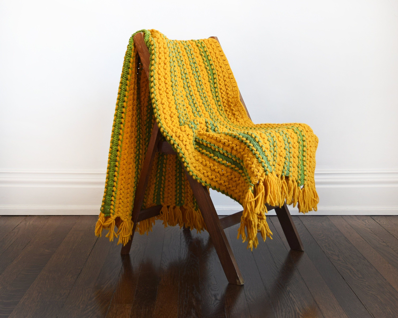70s Striped Afghan Blanket Vintage 1970s Crochet Blanket Mustard Yellow Green 1970s Fringe Throw Blanket In 2020 Fringe Throw Blanket Afghan Blanket Blanket