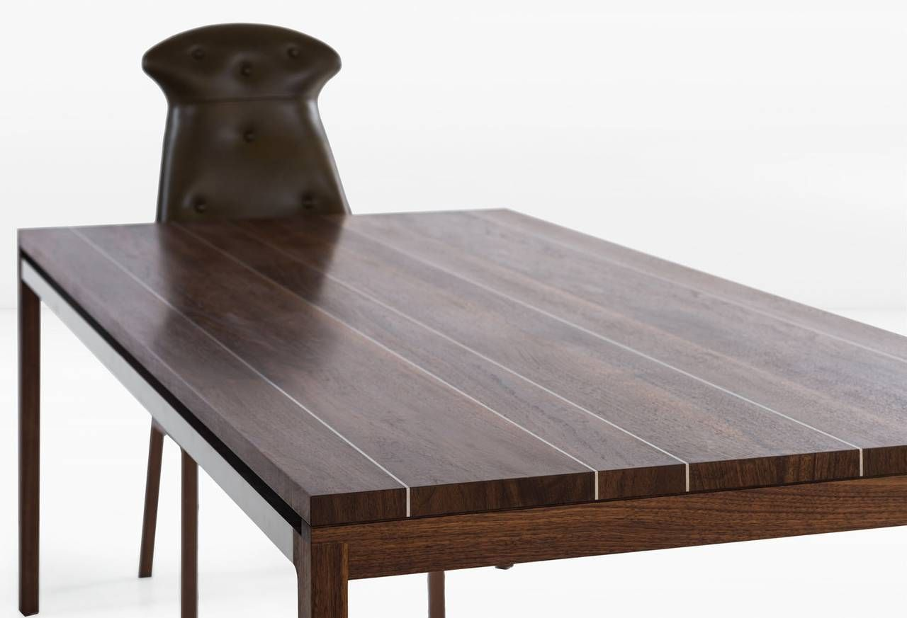 Joe Dining Table With Walnut Plank Top With Stainless Steel Inlay