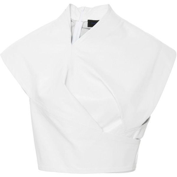 Asymmetrical Wrap Leather Top   Moda Operandi (€2.136) ❤ liked on Polyvore featuring tops, crop top, shirts, leather shirt, wrap tie top, white wrap top, white shirts and white wrap shirt
