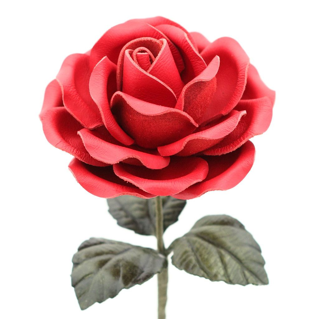 9th Wedding Anniversary Gift Leather: Leather Rose Long Stem Flower - Crimson Red