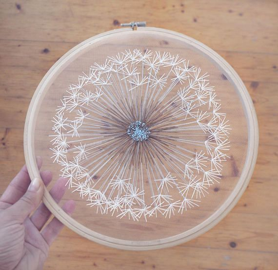 Large Make a Wish Dandelion Tulle Embroidery Hoop Art. Bohemian Wedding Decor Hand Embroidery by Velvet Meadow. Size 12