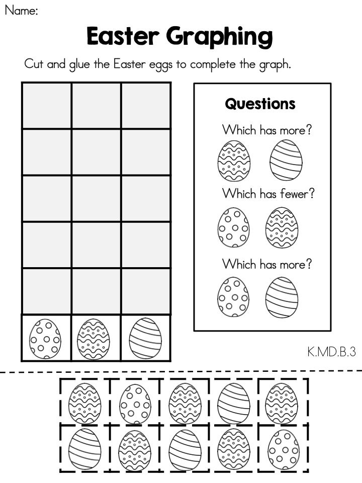 Easter Math Worksheets (Kindergarten) (Distance Learning
