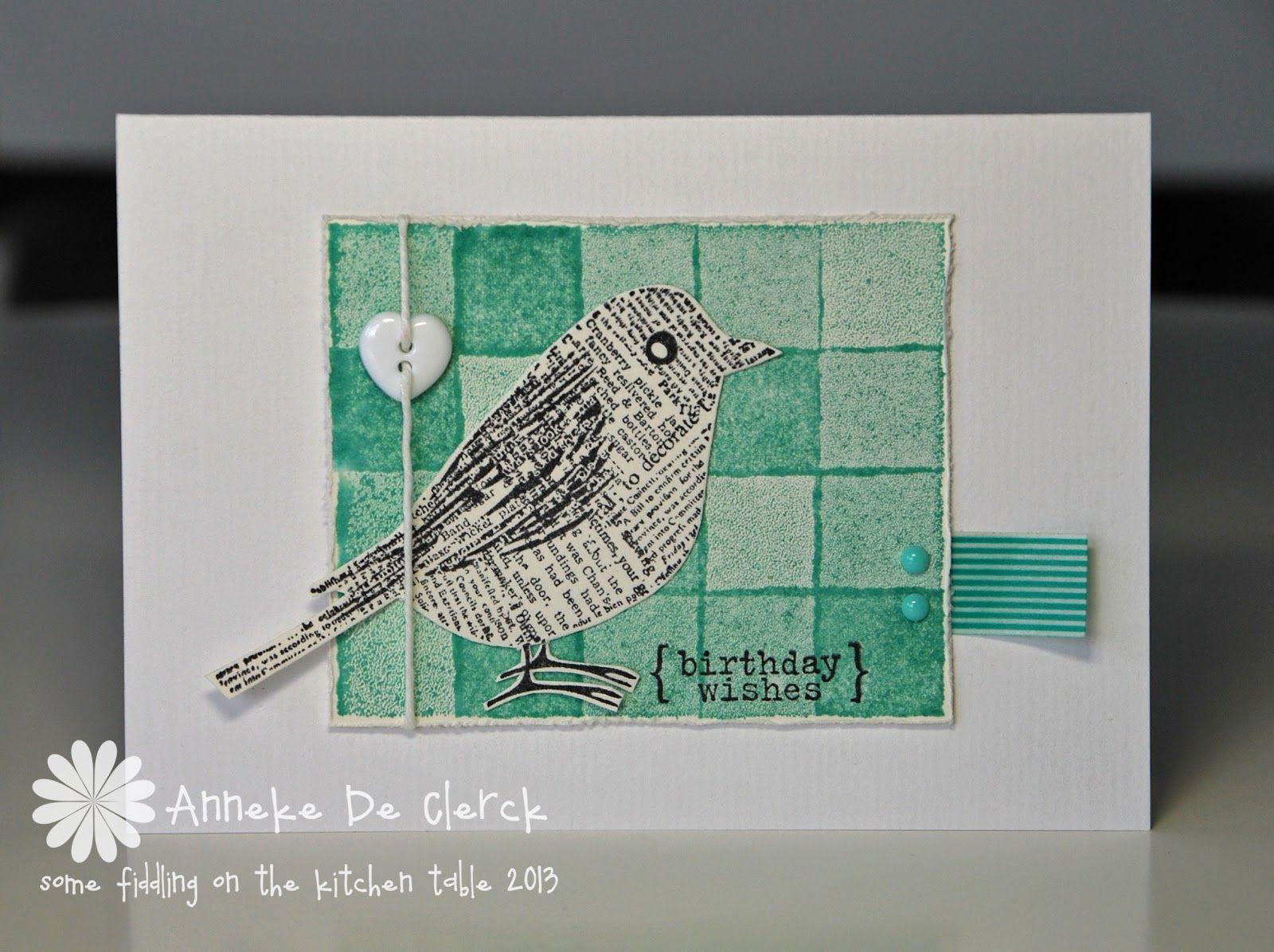Een serie kaartjes gemaakt met de Hero Arts \'Newsprint Bird\'. Made ...