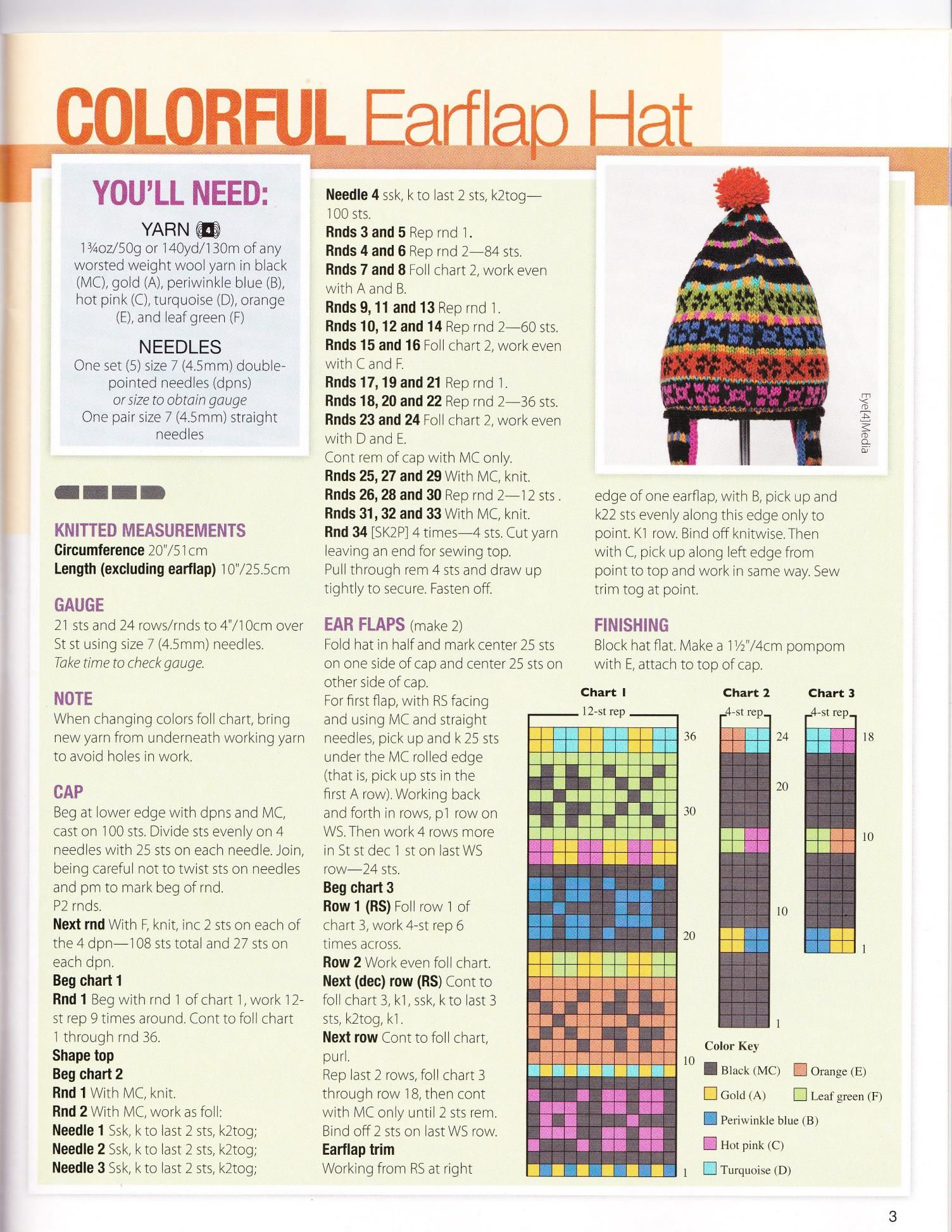 Stranded knitted toque with pompom and eat flaps. Free pattern ...
