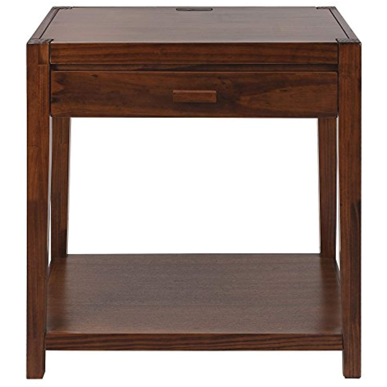 Casual Home 649 24 Notre Dame Nightstand With Usb Ports Warm Brown