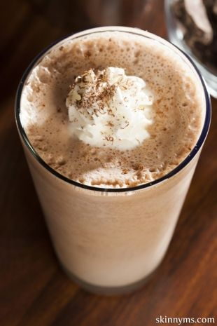 Frothy Chocolate Shake by Skinny Ms.. Lower Calorie:) #healthychocolateshakes