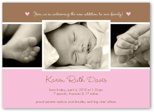 Birth Announcement: New Addition Girl, Square Corners, Pink