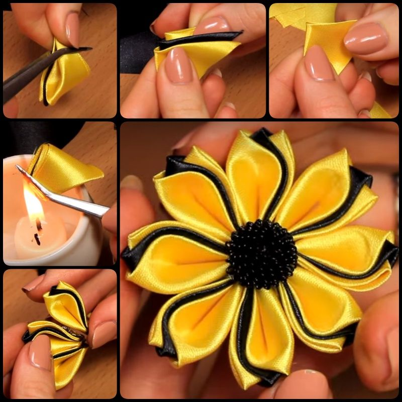 Fiori Kanzashi Tutorial.How To Make Simple Fabric Kanzashi Flowers Ribbon Flower
