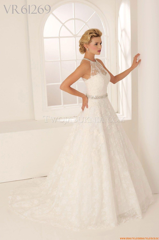 Rund-neck A-linie Bodenlang Schlichte Brautkleider für Prinzessin ...