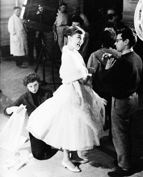 Audrey Hepburn with Richard Avedon in 1956