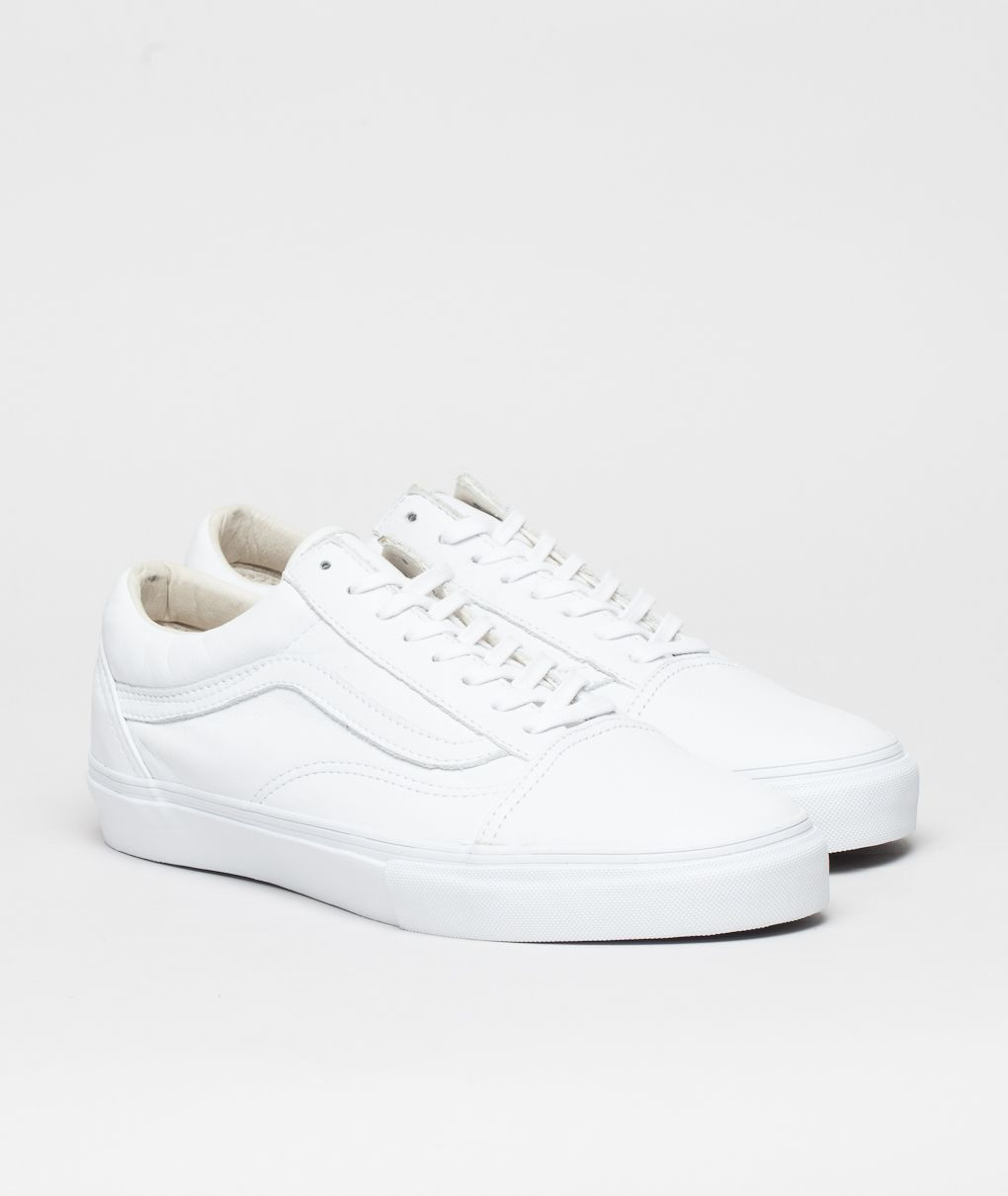 White vans shoes, White leather vans