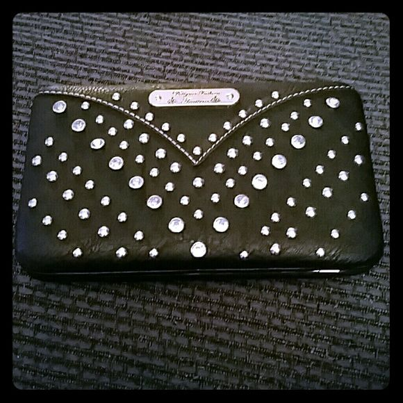 Studded Wallet Black wallet with metal and rhinestone studs, missing one stud on the left side, shows tiny bit of wear on the corners but in very good condition. Designer Fashion Accessories  Bags Wallets
