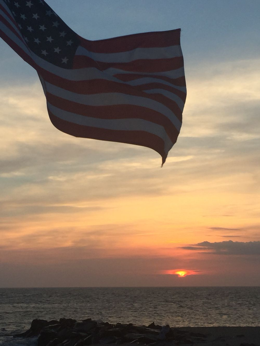 American Flag And Sunset Beach Cape May Nj Beautiful Beach Sunset Best Memories Cape May