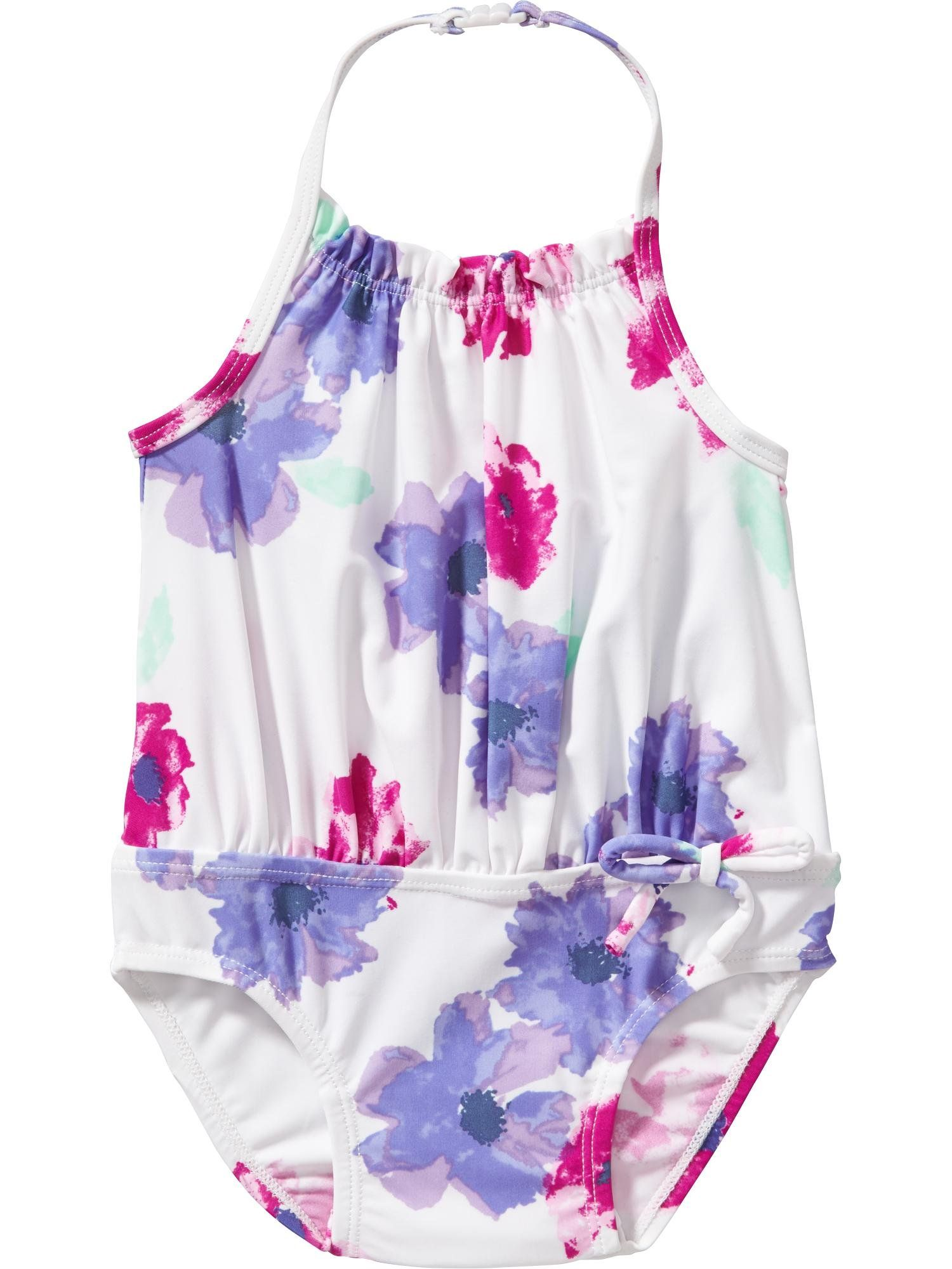 8ff3064374765 Old Navy Floral Halter Swimsuits For Baby Size 18-24 M Blue floral ...