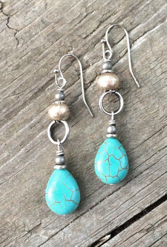 Turquoise Silver Drop Earrings Boho Jewelry Ethnic