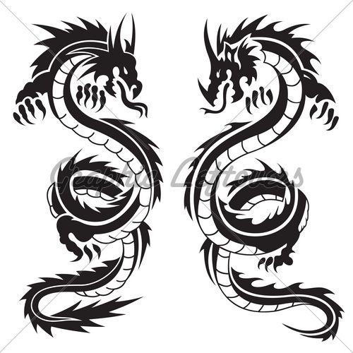 Two Dragons Gl Stock Images Black Dragon Tattoo Asian Dragon Tattoo Dragon Silhouette