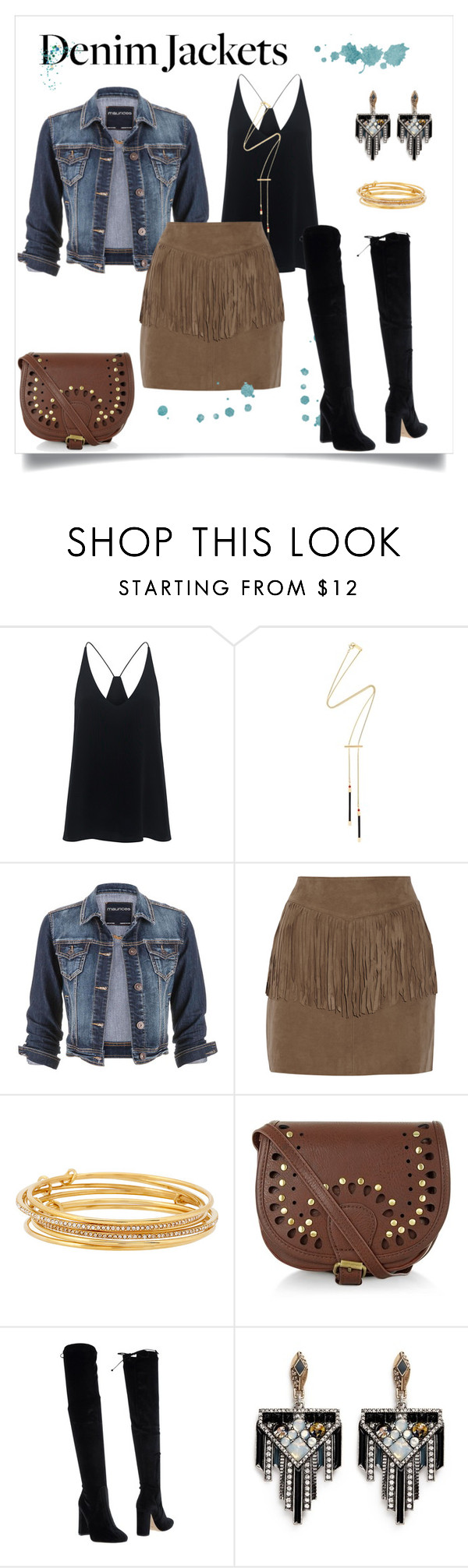 """Denim jacket suede skirts"" by morongo ❤ liked on Polyvore featuring TIBI, Isabel Marant, maurices, W118 by Walter Baker, Kate Spade, New Look, Bianca Di and Lulu Frost"