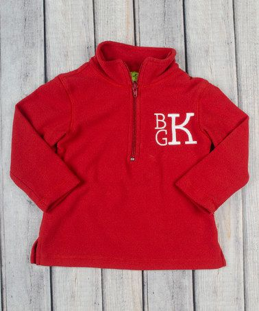 Look at this #zulilyfind! Red Monogram Fleece Pullover - Infant ...