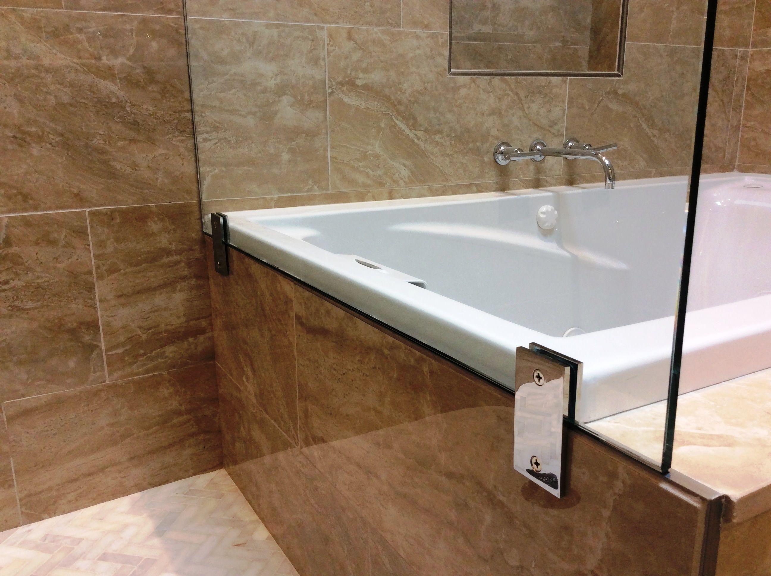 Flush Clamp Close Up Return Panel Frameless Shower Door