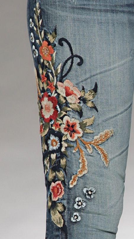 Moto floral embroidered mom jeans by top google search embroidered jeans are a major trend this season ccuart Images