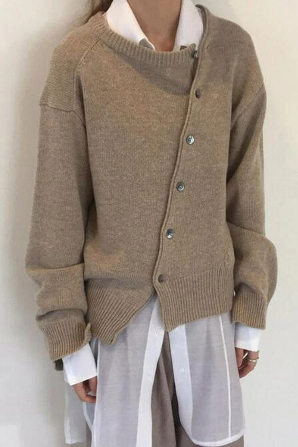 Button Down Long Sleeves Knitted Sweater